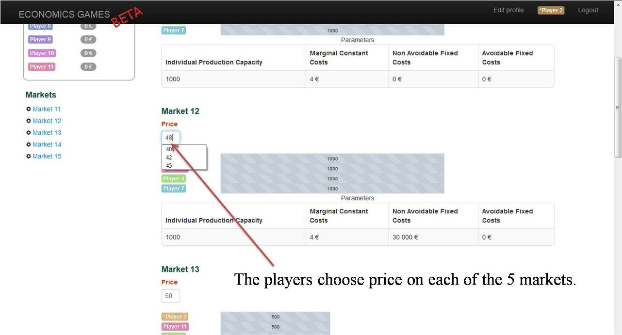 competition economics game: price choice